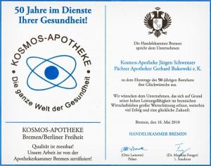 KOSMOS-Apotheke-Bremen-Ehrenurkunde der Handelskammer Bremen von 2010